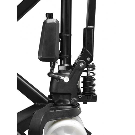 Гидравлическая тележка с ручным подъемом вил и ручным тормозом TOYOTA (для установки в верхнее положение)